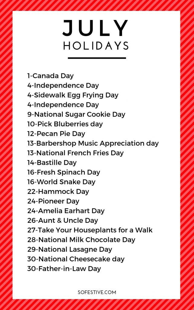 July Holidays 2021- Unique & Fun Holidays | So Festive-National Food Days 2021 Printable