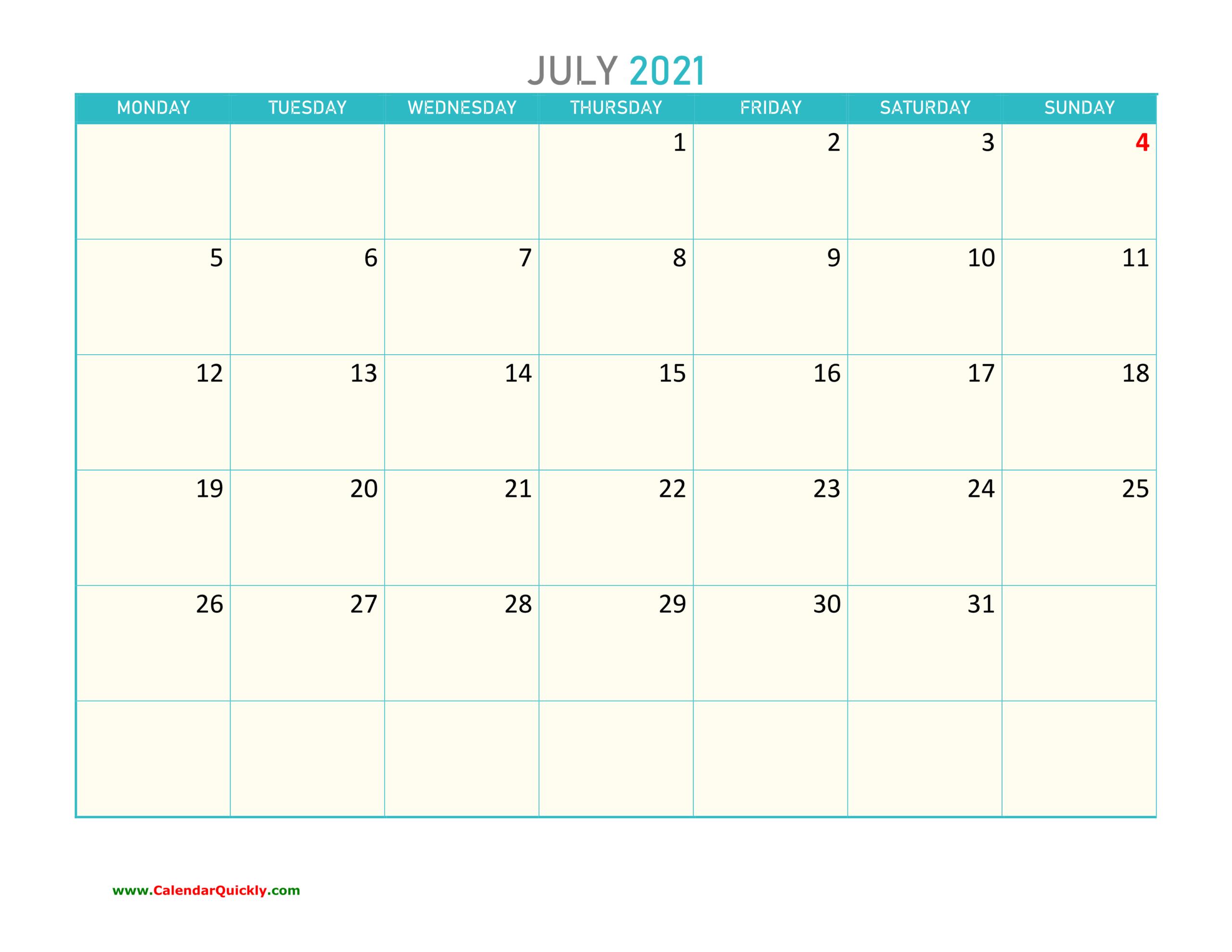 July Monday 2021 Calendar Printable | Calendar Quickly-Printable Monday - Friday July 2021