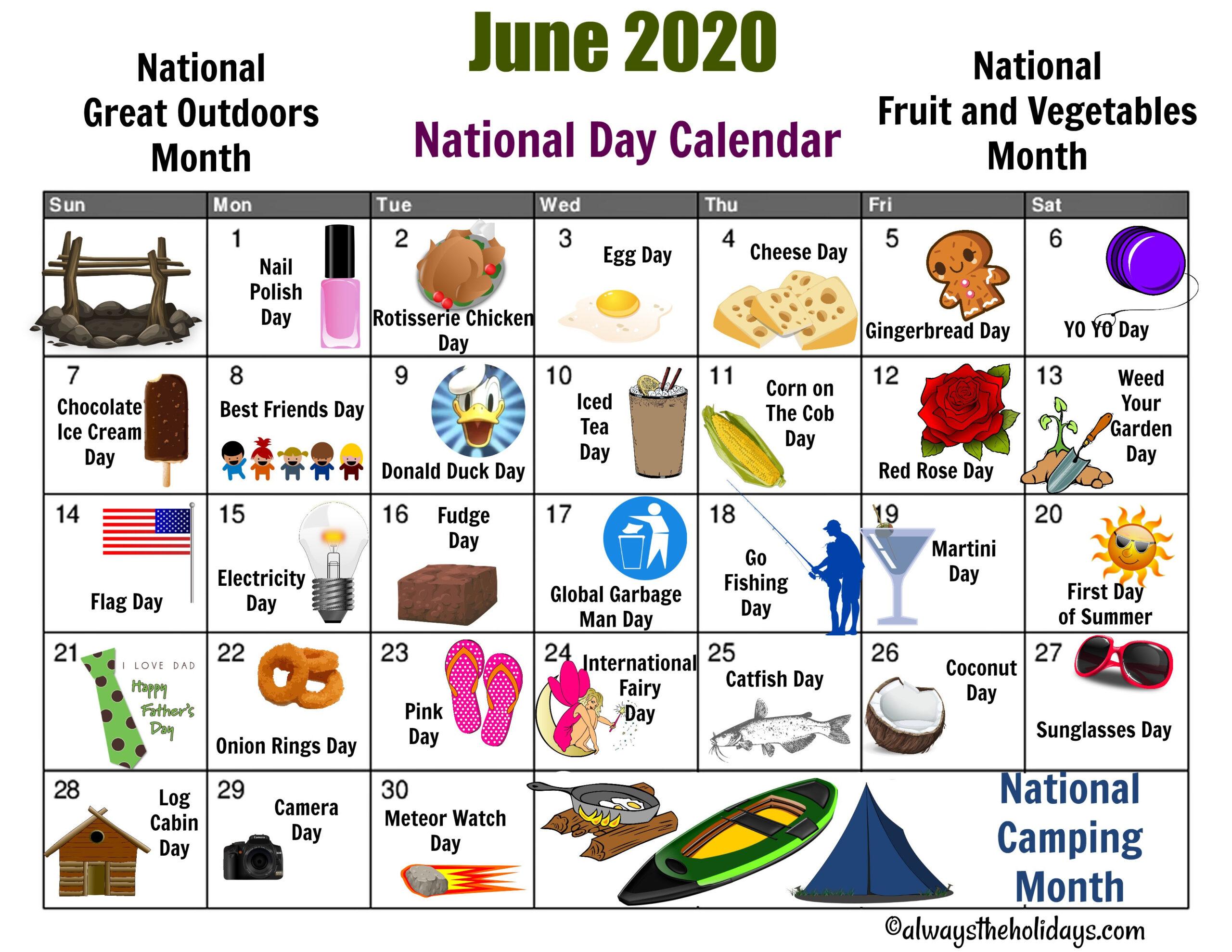 June National Day Calendar Printable - Father'S Day-National Food Days 2021 Calendar