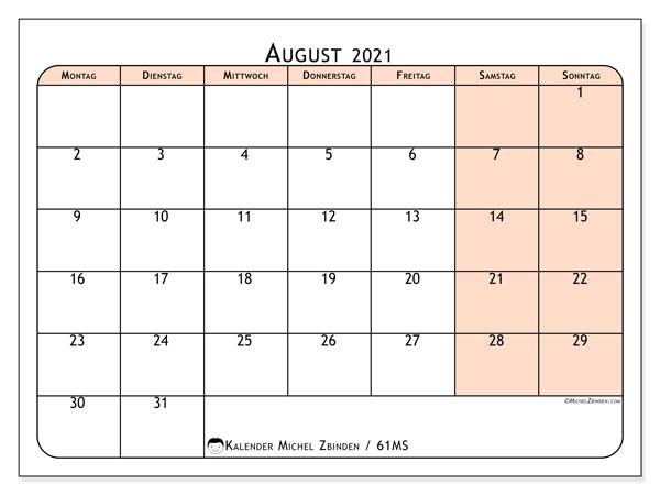 """Kalender """"61Ms"""" August 2021 Zum Ausdrucken - Michel Zbinden De-Kalender 2021 Planer Zum Ausdrucken"""