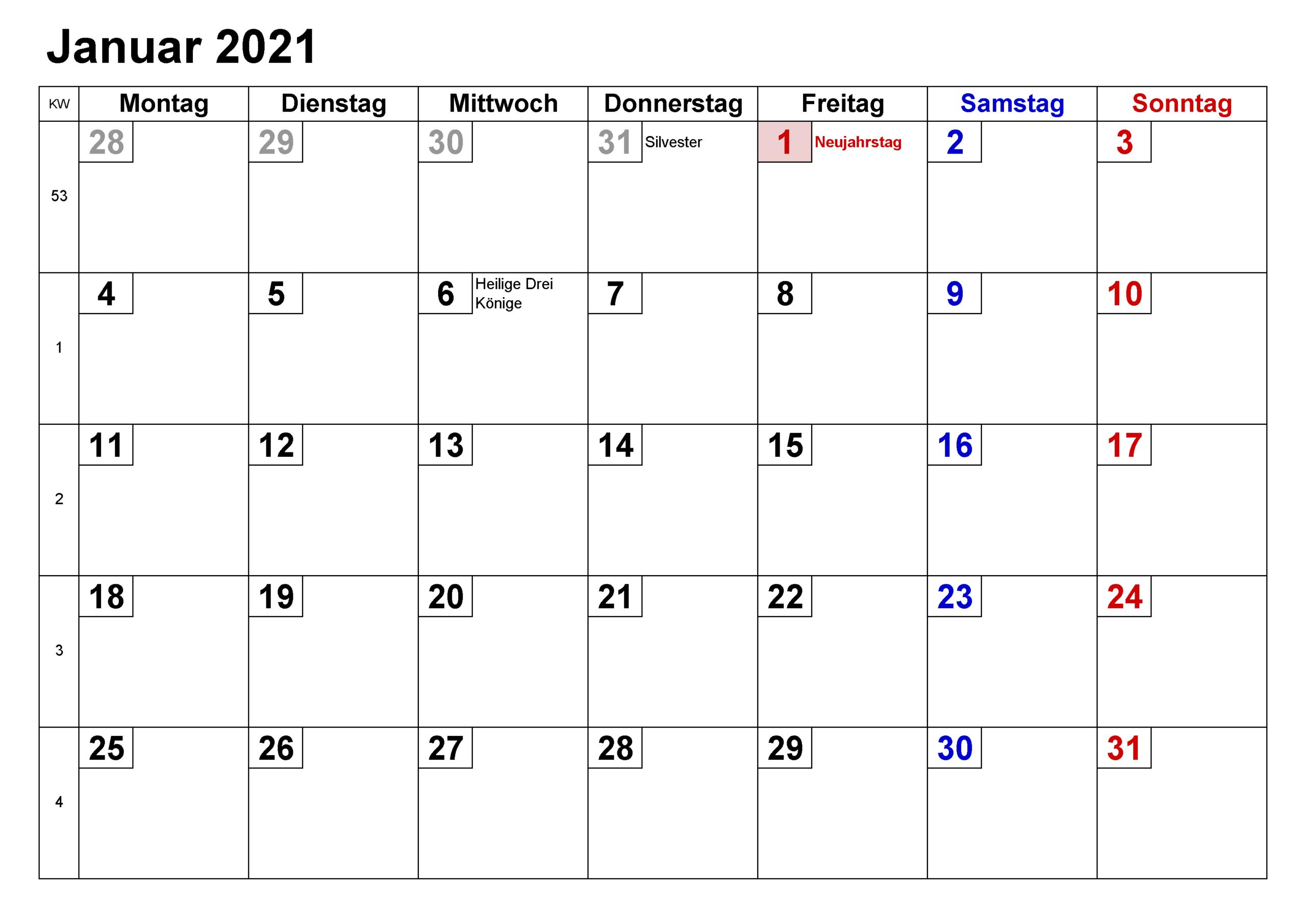 Kalender Januar 2021 Zum Ausdrucken Planer | Zudocalendrio-Kalender 2021 Planer Zum Ausdrucken