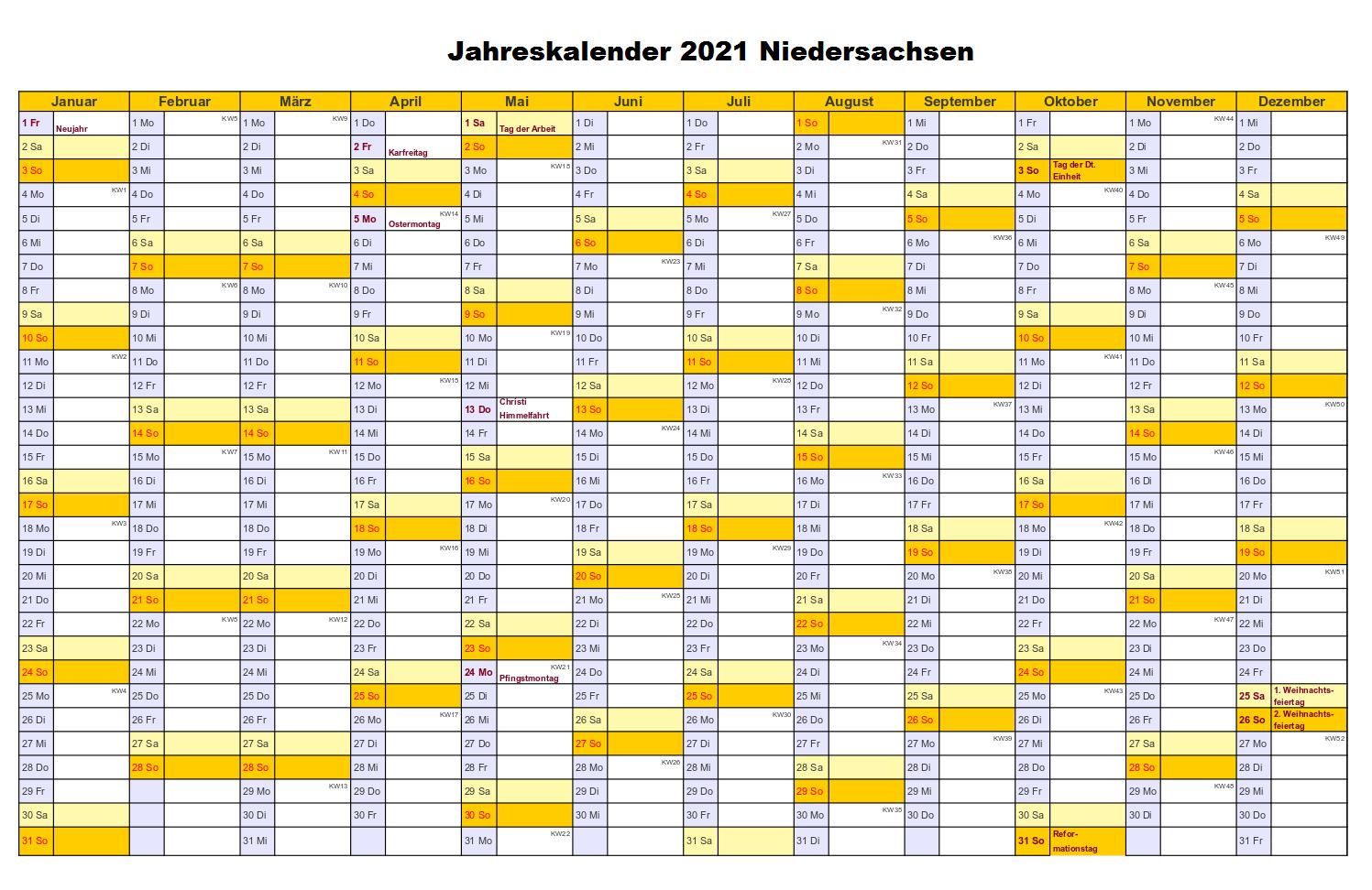 Kostenlos Druckbar Jahreskalender 2021 Niedersachsen-Kalender 2021 Planer Zum Ausdrucken