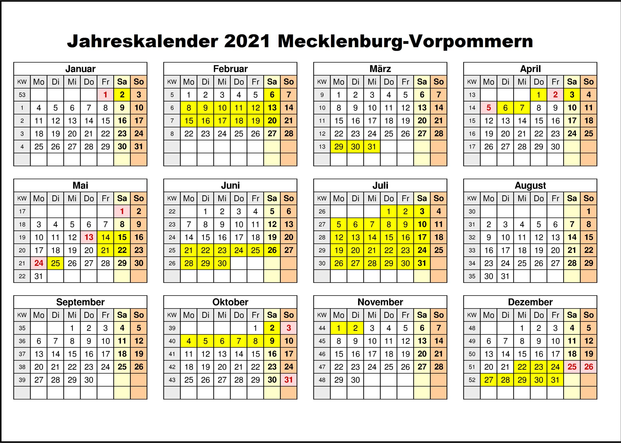 Kostenlos Jahreskalender 2021 Mecklenburg-Vorpommern Zum-Kalender 2021 Planer Zum Ausdrucken