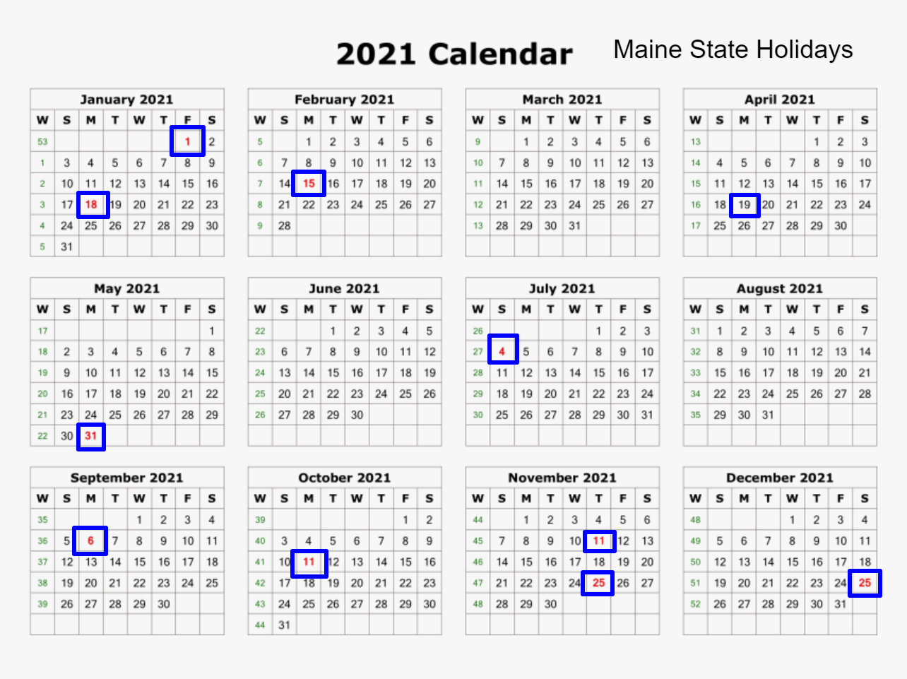 Maine State Holidays 2021 - List Of Federal & State Holidays-2021 Calendard For Vacation Schedule