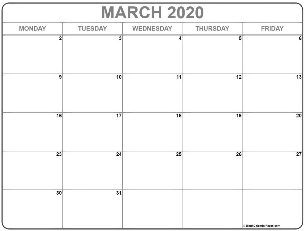 March 2020 Monday Calendar | Monday To Friday | Calendar-August 2021 Calendar Monday Through Friday Only