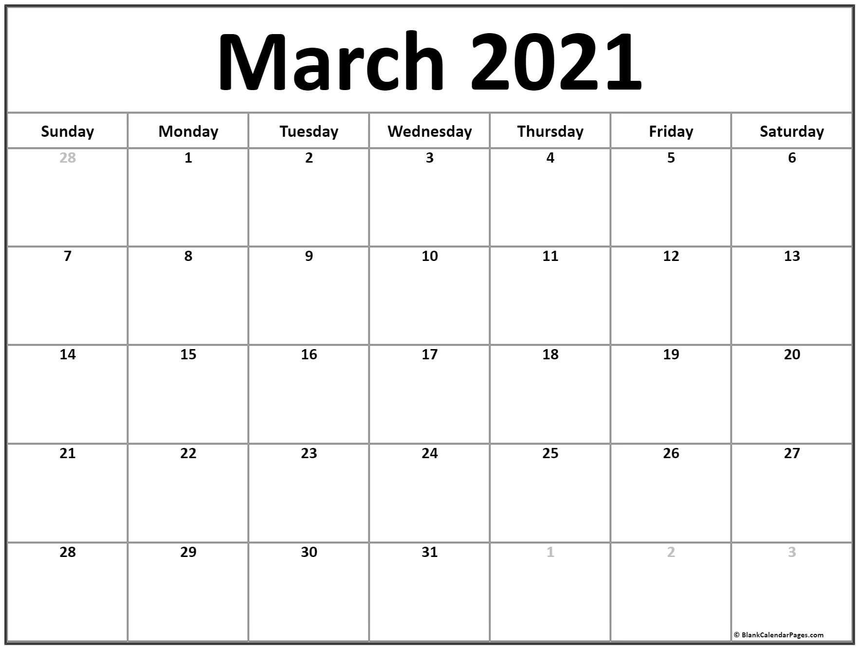 March 2021 Calendar   Free Printable Calendar Templates-Printable Calendar 2021 For Monthly Bills
