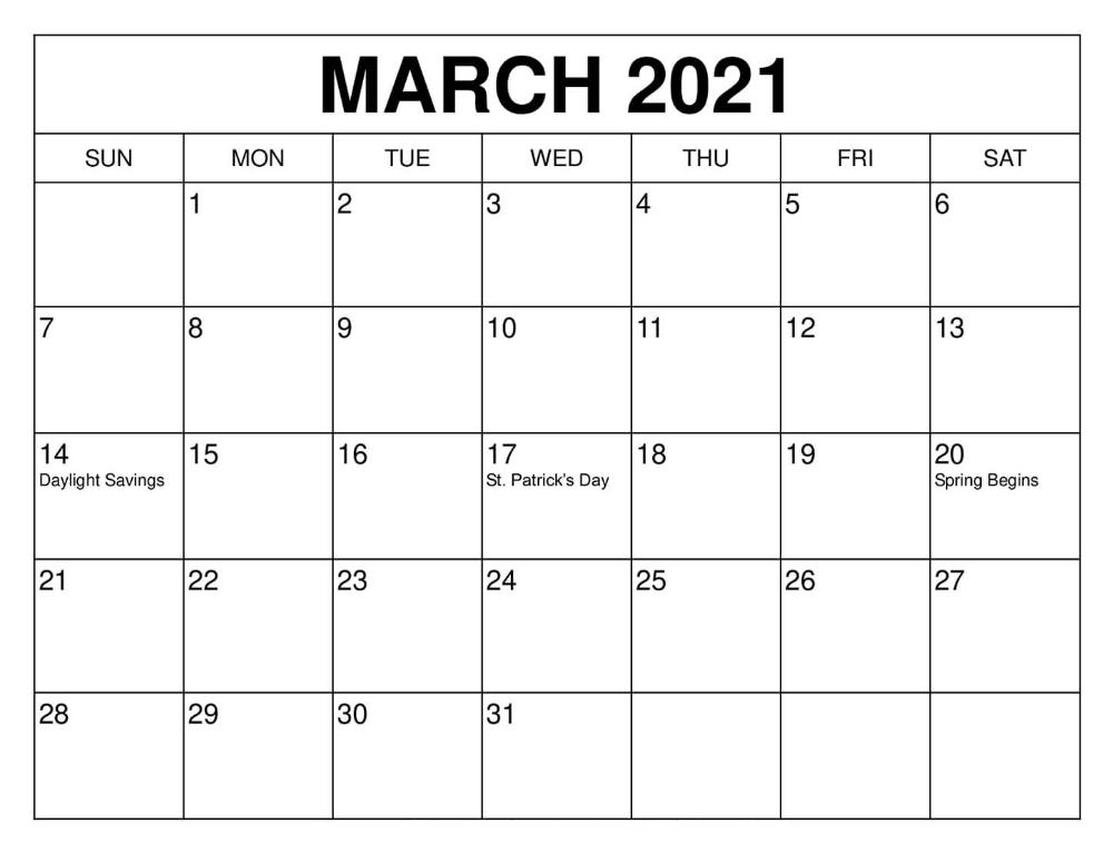 March 2021 Calendar Pdf With Notes   By Calendarness   Medium-2021 Monthly Calendar Printable Pdf