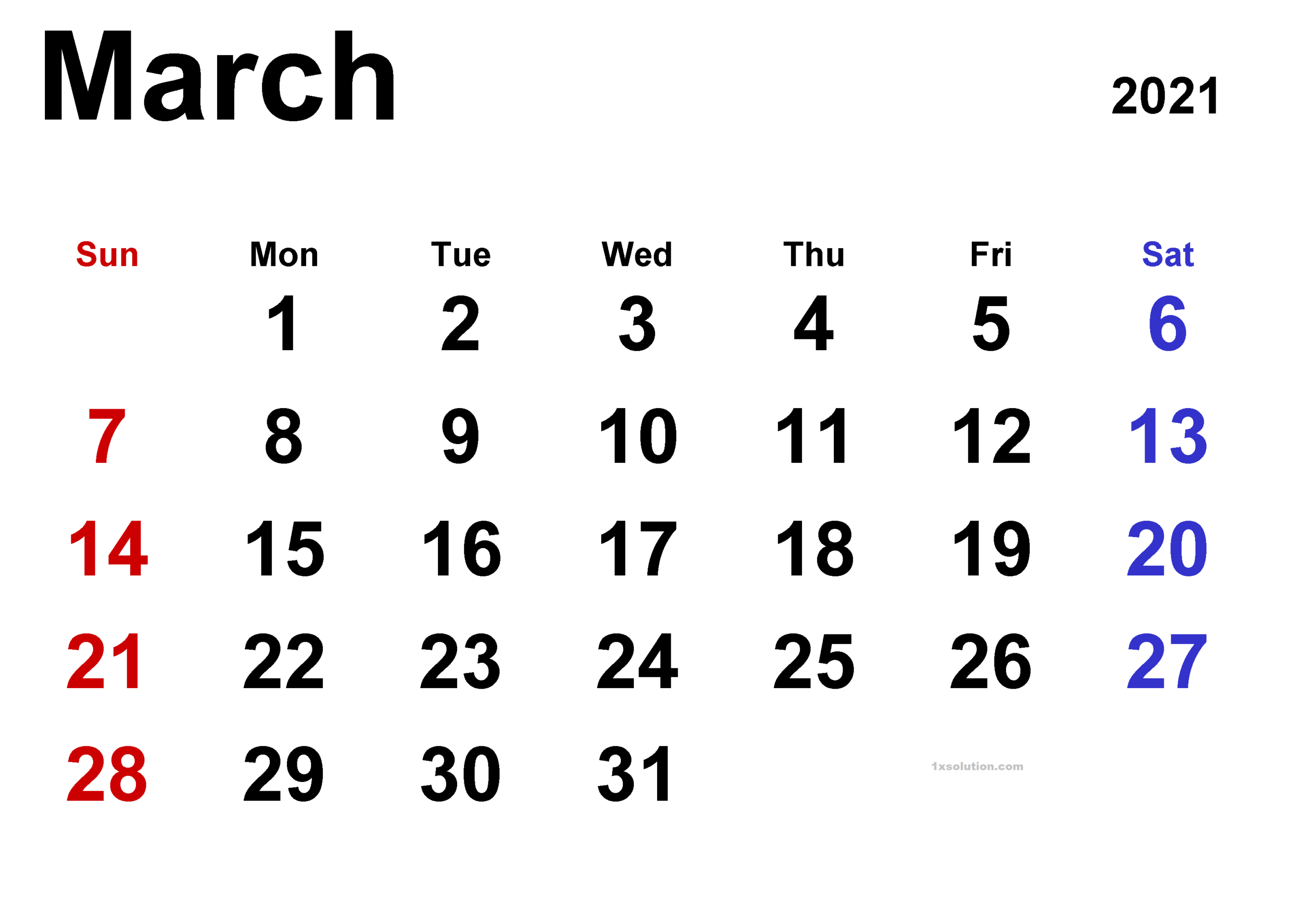 March 2021 Calendar Printable - Wallpaper Image   Calendar-2021 Calendar Printable Free Pdf March