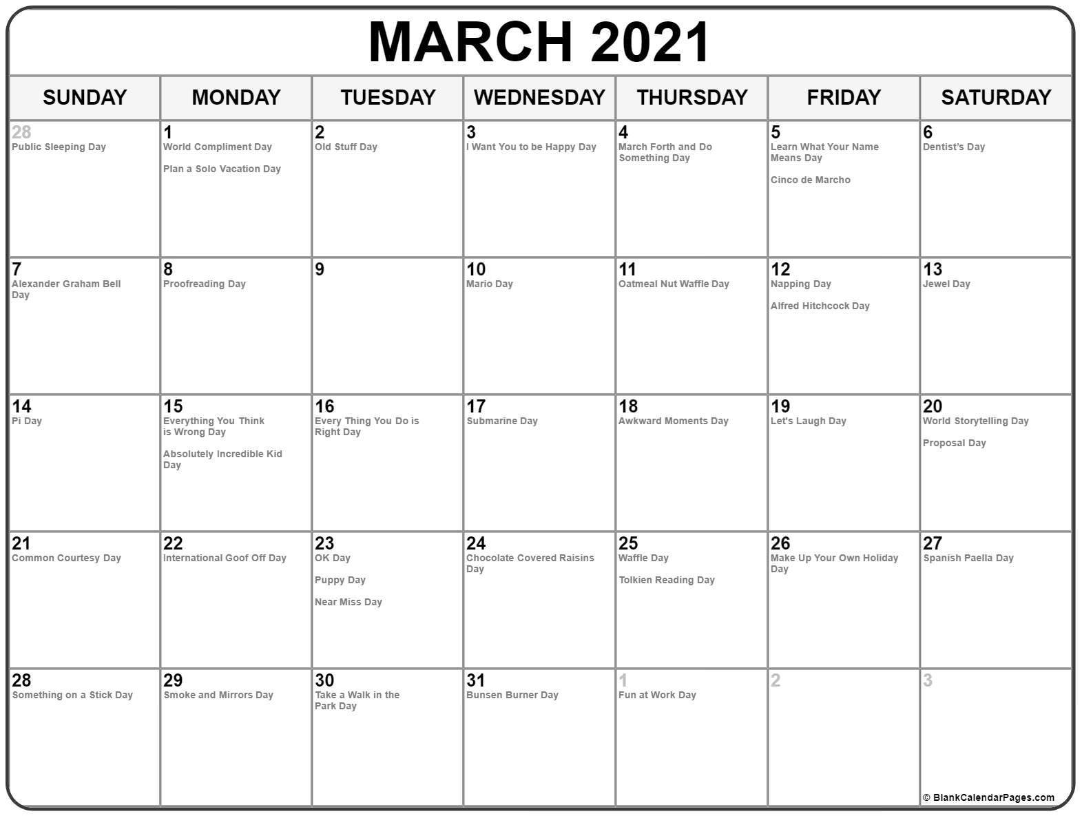 March 2021 Calendar With Holidays-National Wellness Calendar 2021