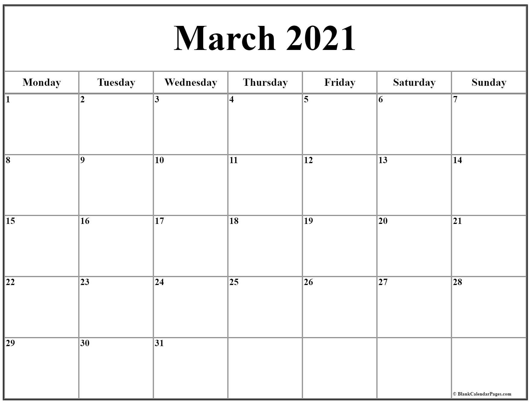 March 2021 Monday Calendar   Monday To Sunday-Calendar 2021 Sat Thru Sunday