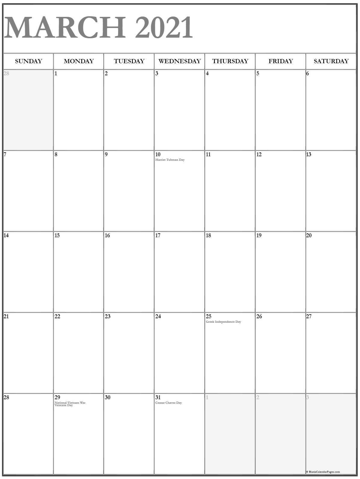 March 2021 Vertical Calendar | Portrait-October Monday Thru Friday Calendar 2021