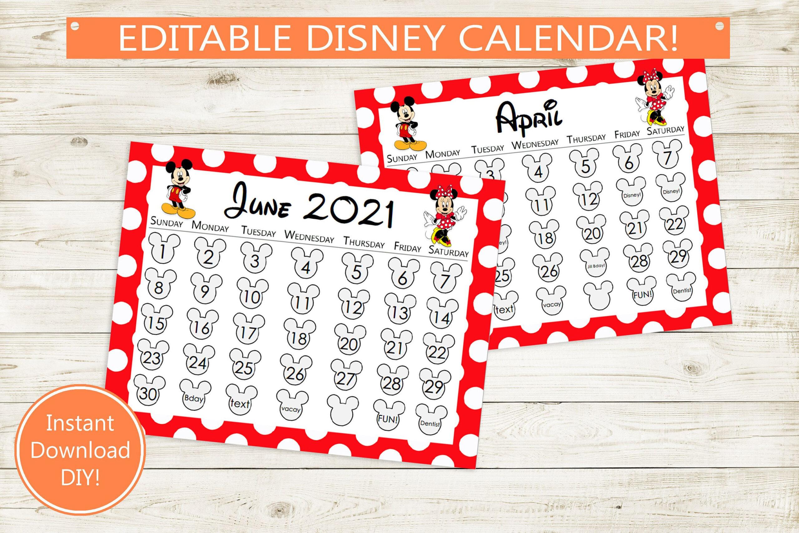 Mickey Mouse Free Printable Disney Calendar 2021 : 2021-Free Mickey Muse Calendars 2021