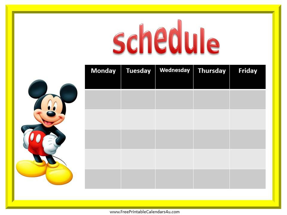 Mickey Mouse Free Weekly Calendar Printable   Mickey Mouse-Free Mickey Muse Calendars 2021