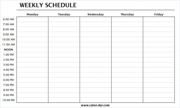 Monday-Friday Schedule Template | Get Free Printable-August 2021 Calendar Monday Through Friday Only