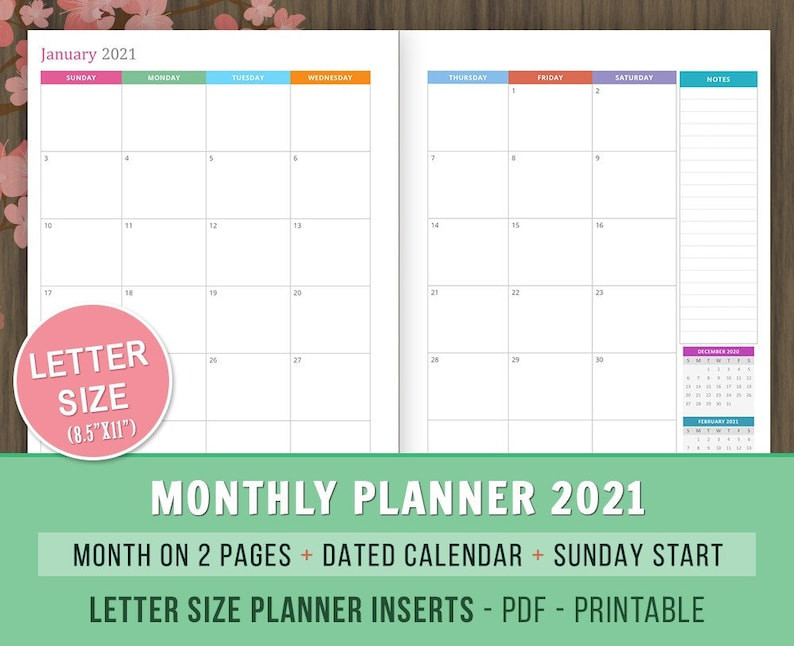 Monthly Planner 2021 Inserts Month On 2 Pages Dated-2 Page Calendar 2021