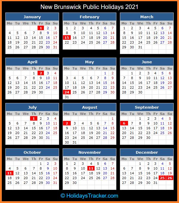 New Brunswick (Canada) Public Holidays 2021 - Holidays Tracker-2021 Vacation Calendars