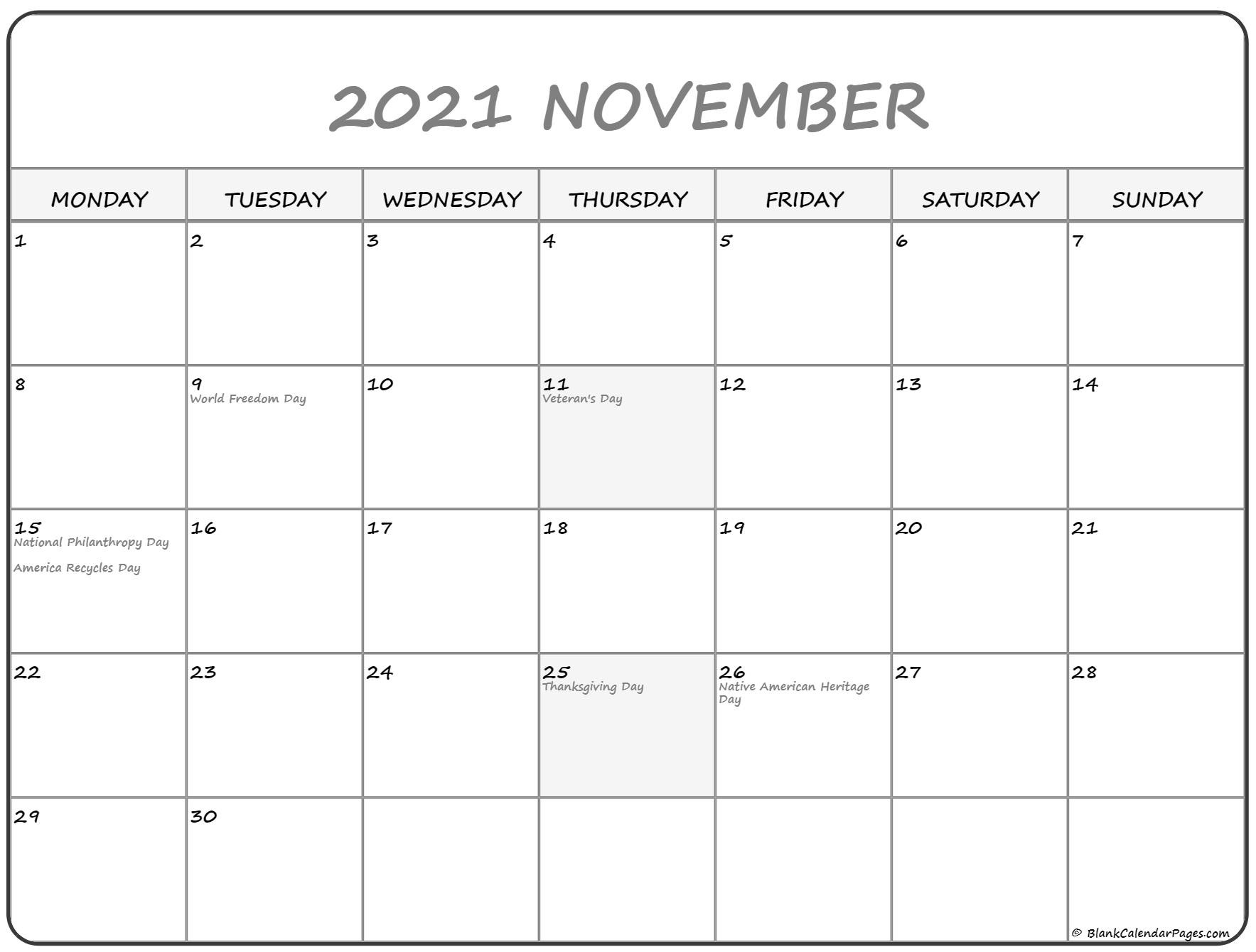 November 2021 Monday Calendar | Monday To Sunday-August 2021 Calendar Monday Through Friday Only