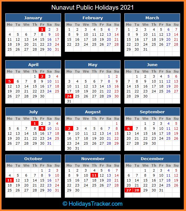 Nunavut (Canada) Public Holidays 2021 - Holidays Tracker-2021 Calendard For Vacation Schedule