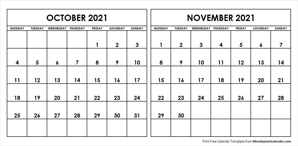 Oct Nov 2021 Calendar Monday Start | Editable Two Months-Editable Calendar October 2021 Sunday Through Saturday