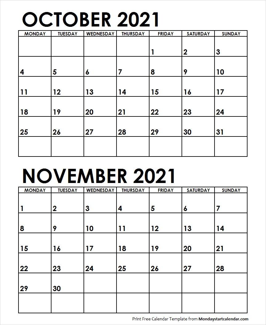 Oct Nov 2021 Calendar Monday Start | Editable Two Months Template-October Monday Thru Friday Calendar 2021