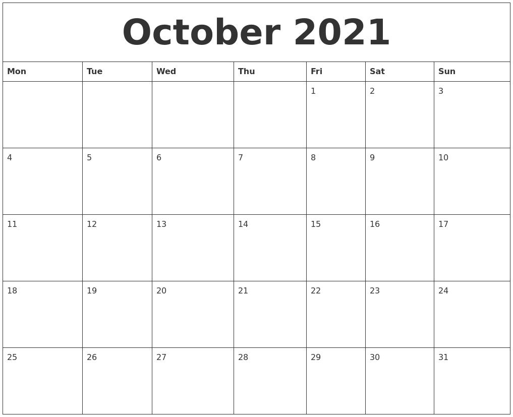 October 2021 Calendar-October Monday Thru Friday Calendar 2021