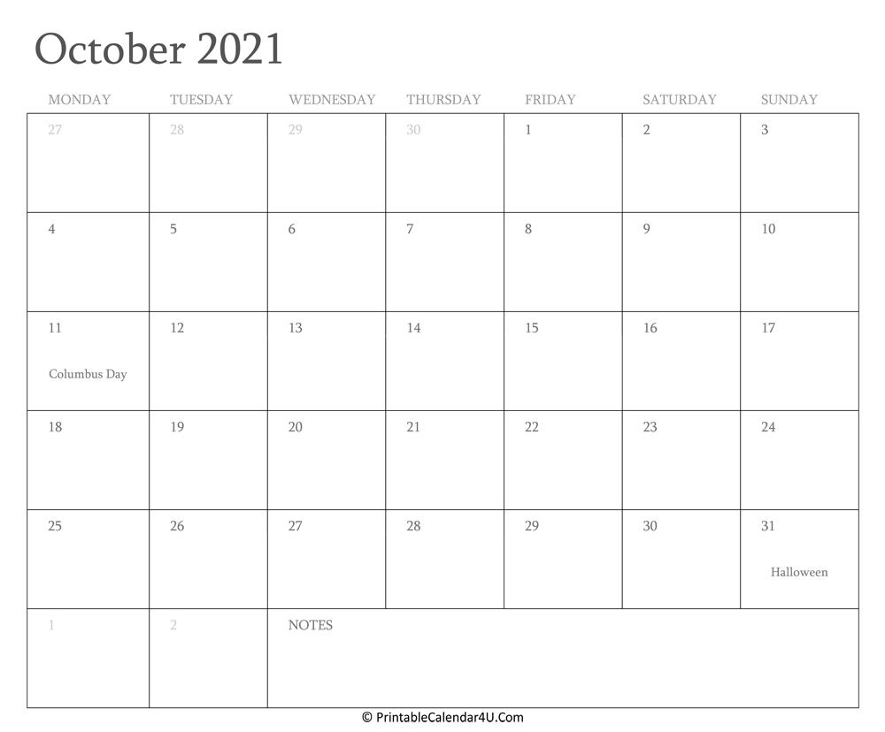October 2021 Calendar Printable With Holidays-Editable Calendar October 2021 Sunday Through Saturday