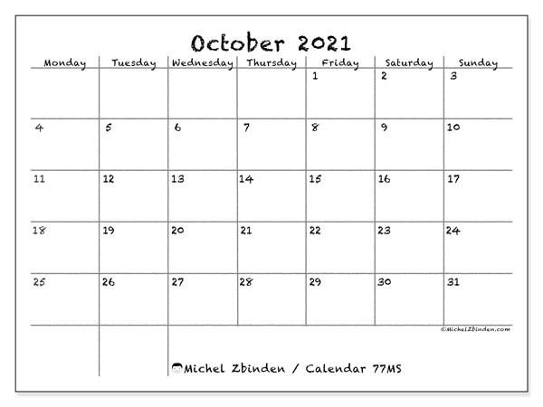 "October 2021 Calendars ""Monday - Sunday"" - Michel Zbinden En-Editable Calendar October 2021 Sunday Through Saturday"