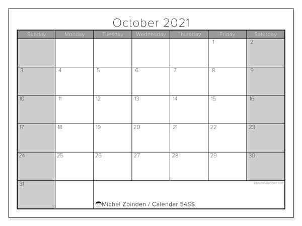 "October 2021 Calendars ""Sunday - Saturday"" - Michel Zbinden En-Editable Calendar October 2021 Sunday Through Saturday"