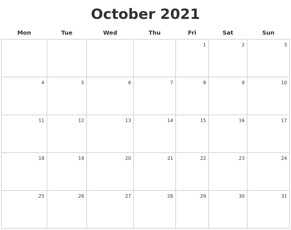 October 2021 Make A Calendar-October Monday Thru Friday Calendar 2021