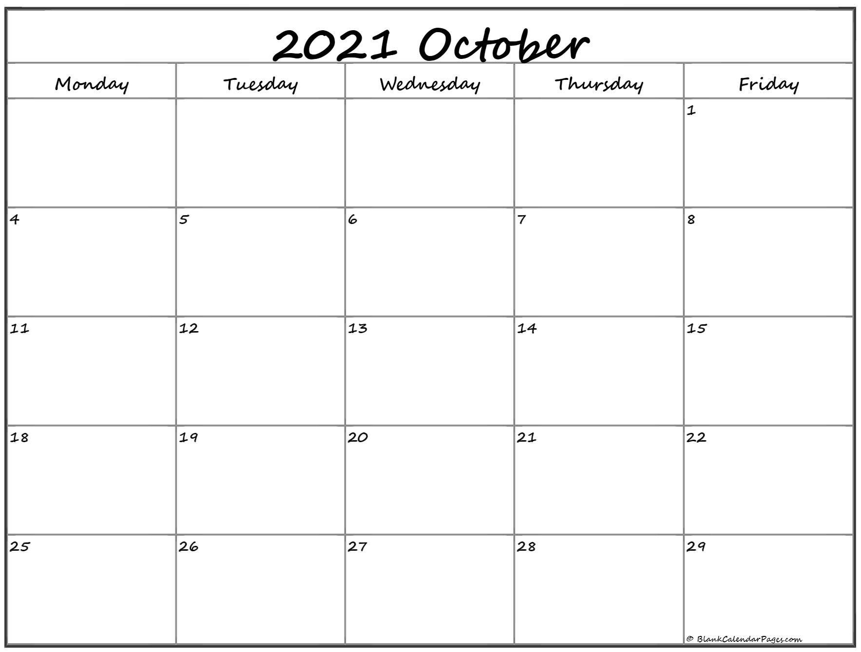 October 2021 Monday Calendar | Monday To Sunday-Printable Monday - Friday July 2021