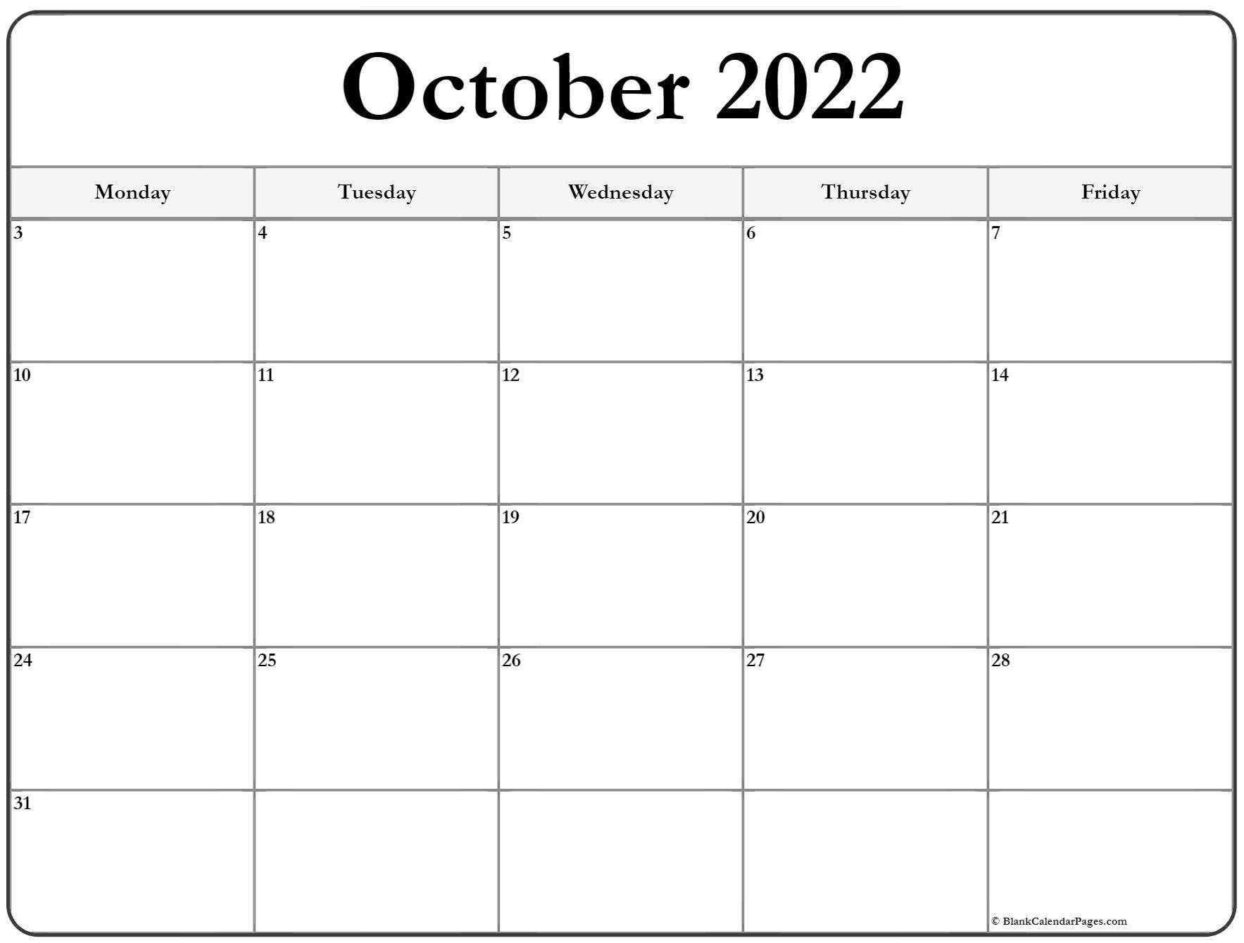 October 2022 Monday Calendar | Monday To Sunday-Printable Monday - Friday July 2021