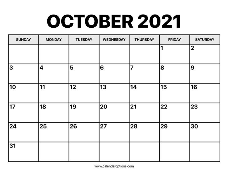 October Calendar 2021 - Calendar Options-October Monday Thru Friday Calendar 2021