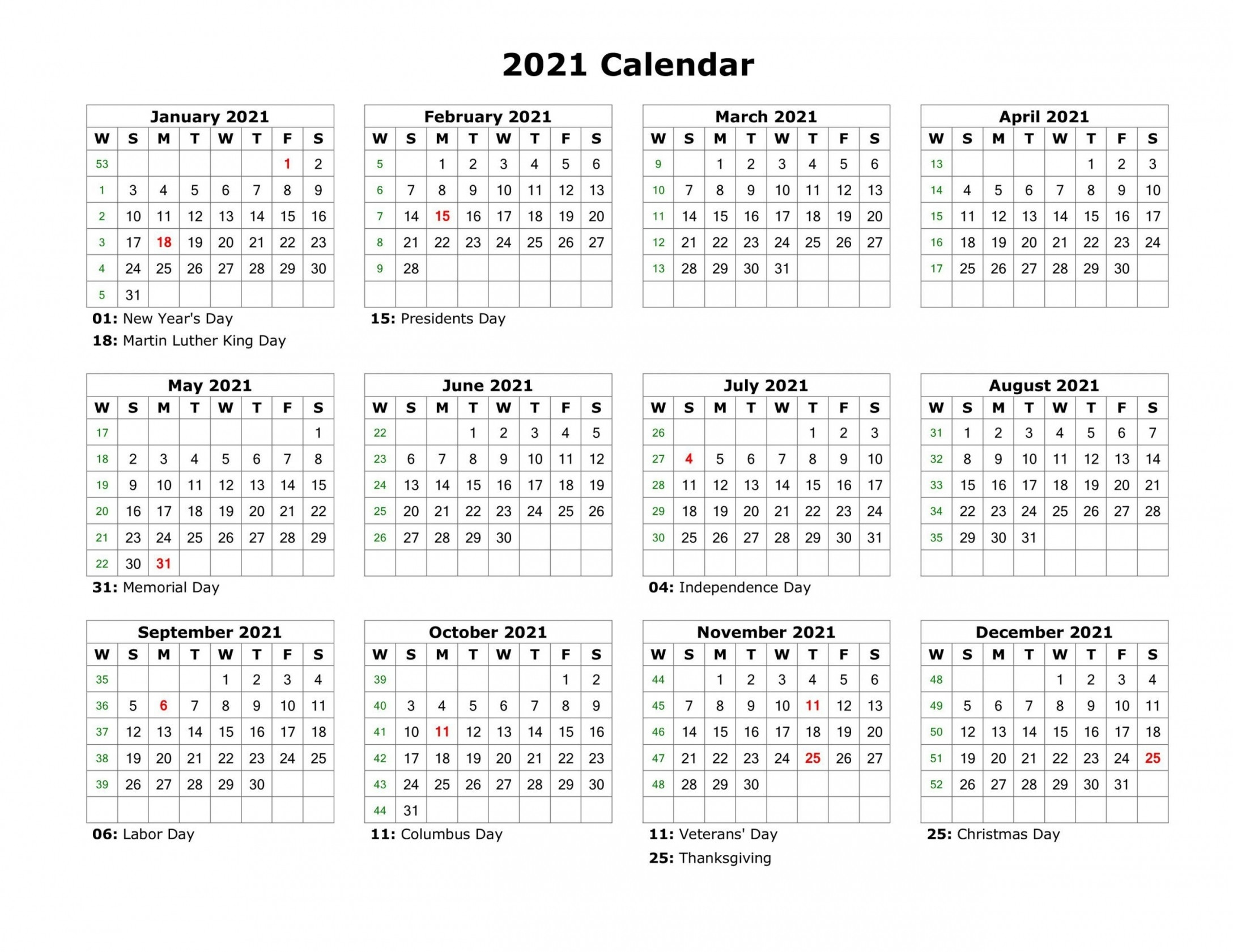 One Page Calendar 2021 | Free Letter Templates-2 Page Printable Yearly Calendar Template 2021