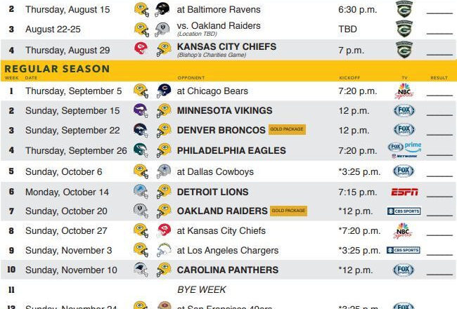 Packers 2019 Schedule Officially Announced-Printable 2021 Full Nfl Schedule