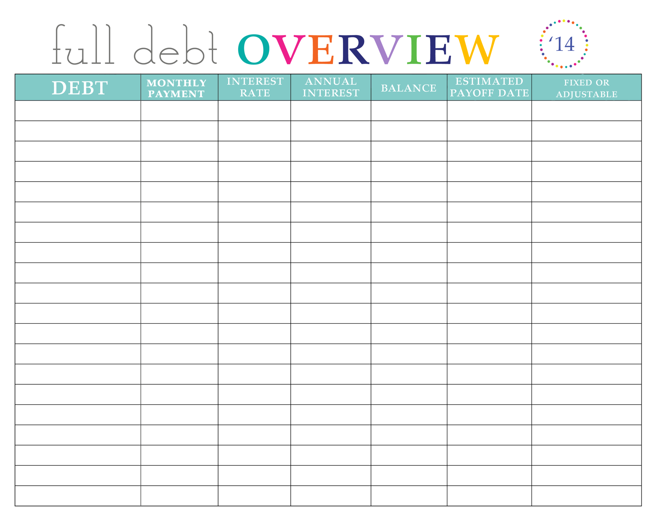 Paying Off Debt Worksheets-Monthly Bill Spreadsheet Templates 2021