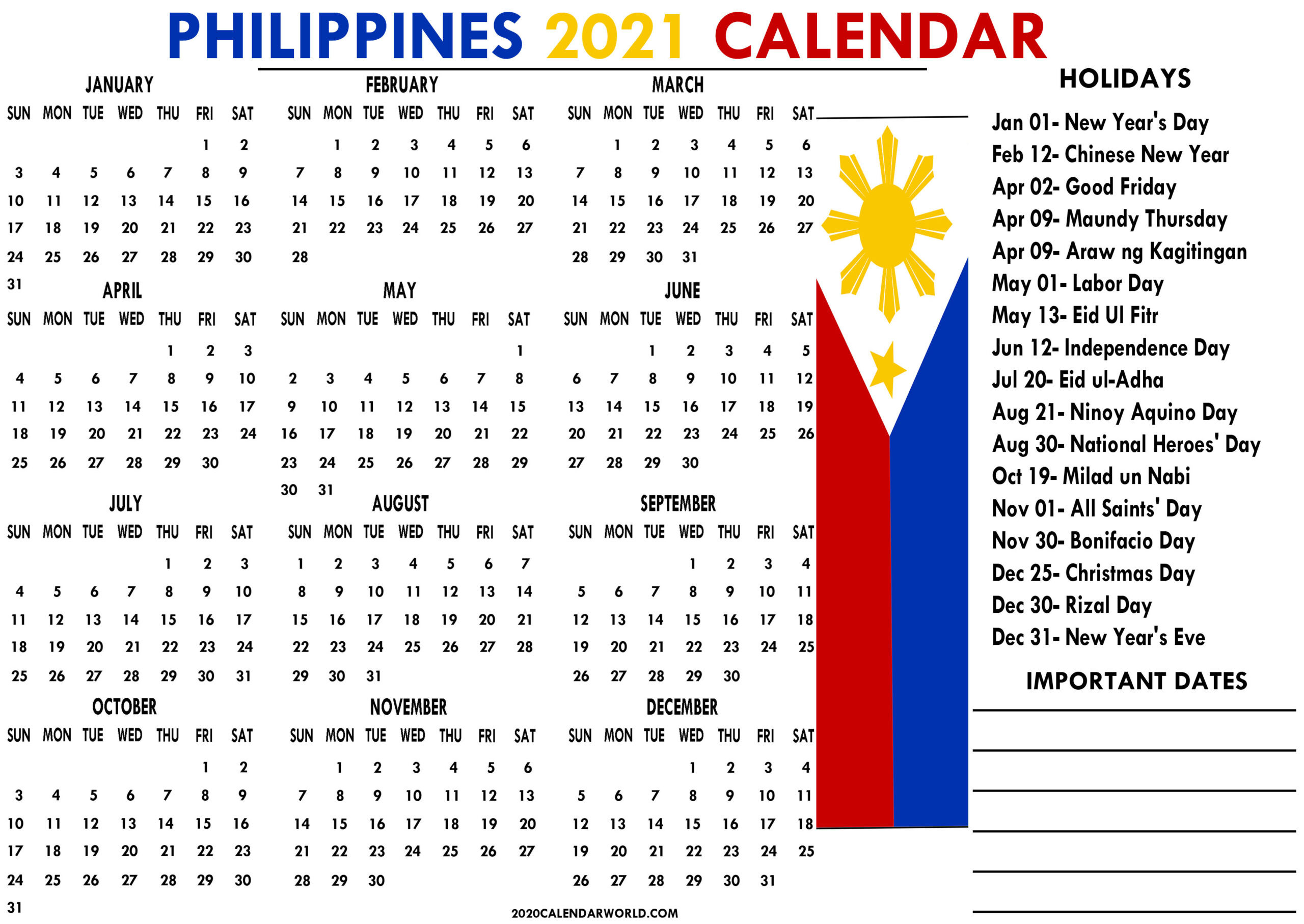 Philippines 2021 Calendar With Holidays Printable Templates-2021 Calendard For Vacation Schedule