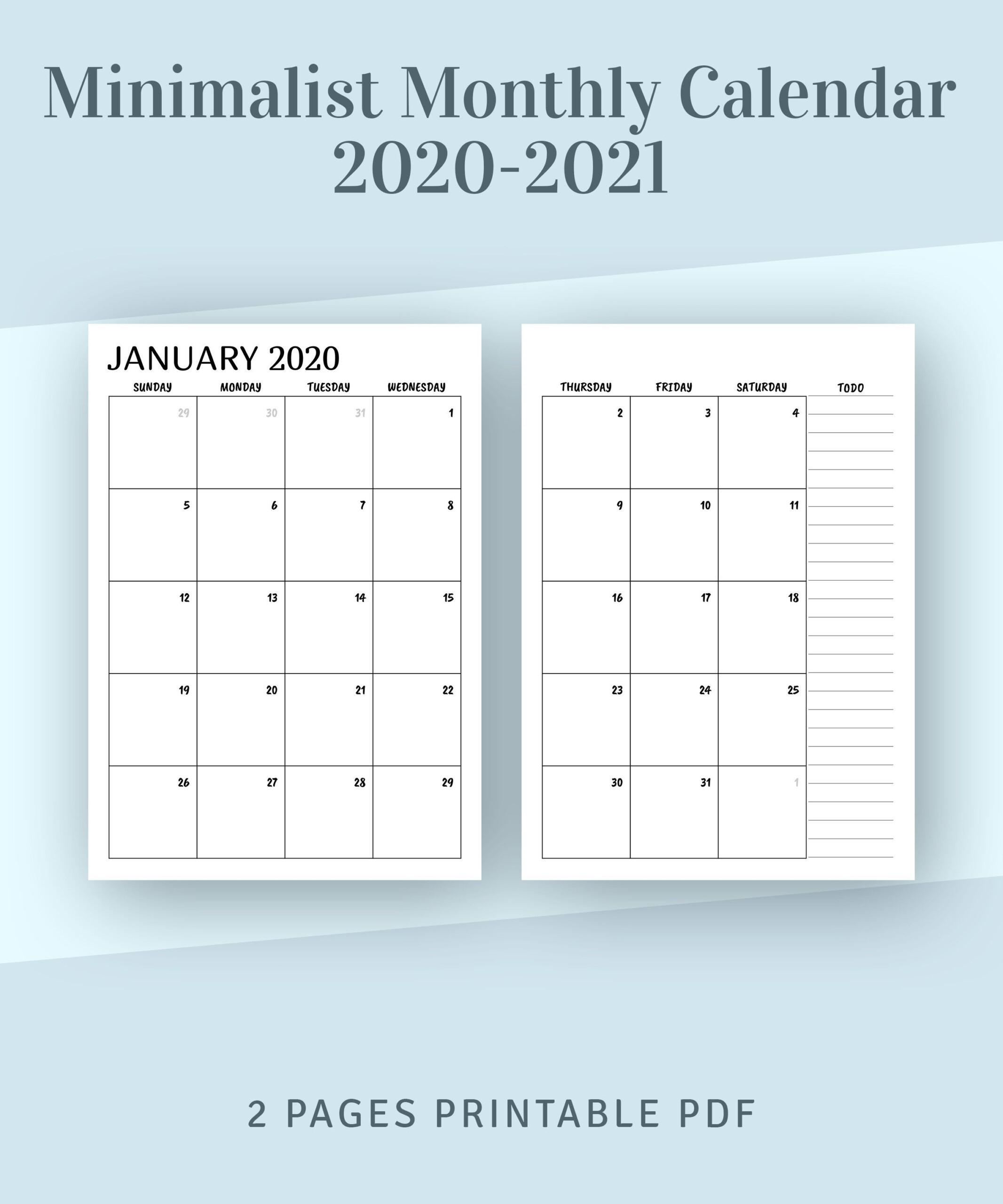Printable 2 Page Monthly Calendar 2021   2021 Printable-2 Page Calendar 2021