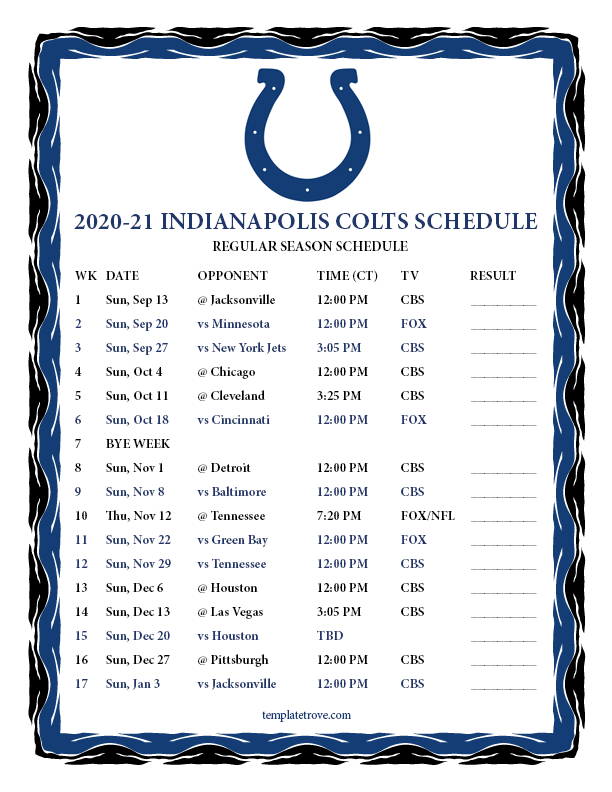 Printable 2020-2021 Indianapolis Colts Schedule-Printable 2021 Full Nfl Schedule