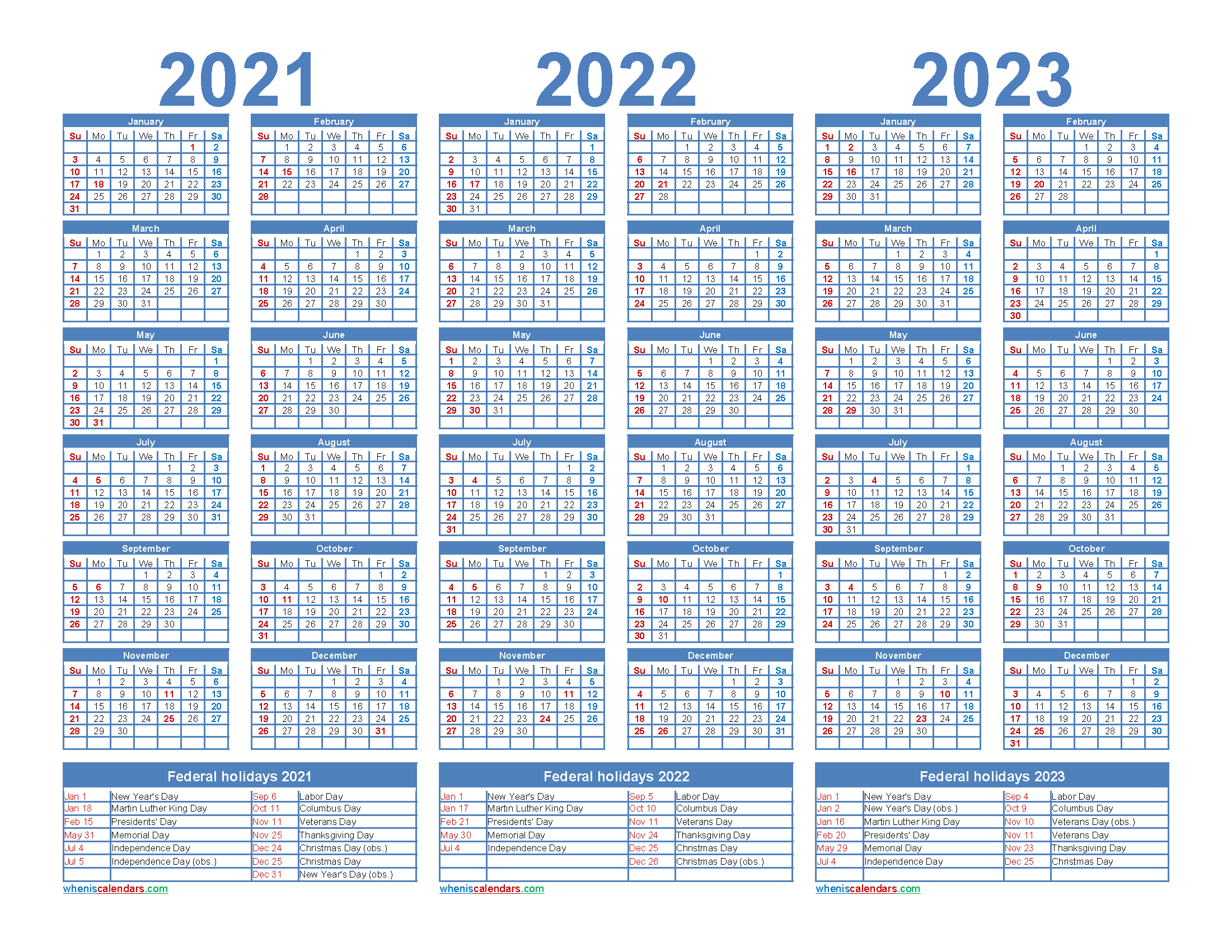 Printable 2021 2022 And 2023 Calendar With Holidays Word, Pdf-2021 2022 2023 Printable Calendar