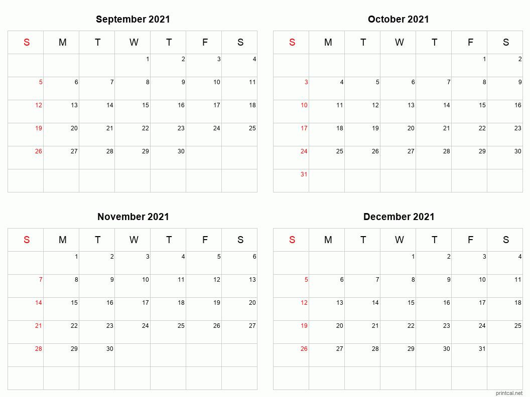 Printable 2021 Calendar - Four Months Per Page | Free-2021 Monthly Calendar 2 Page Per Month Printable