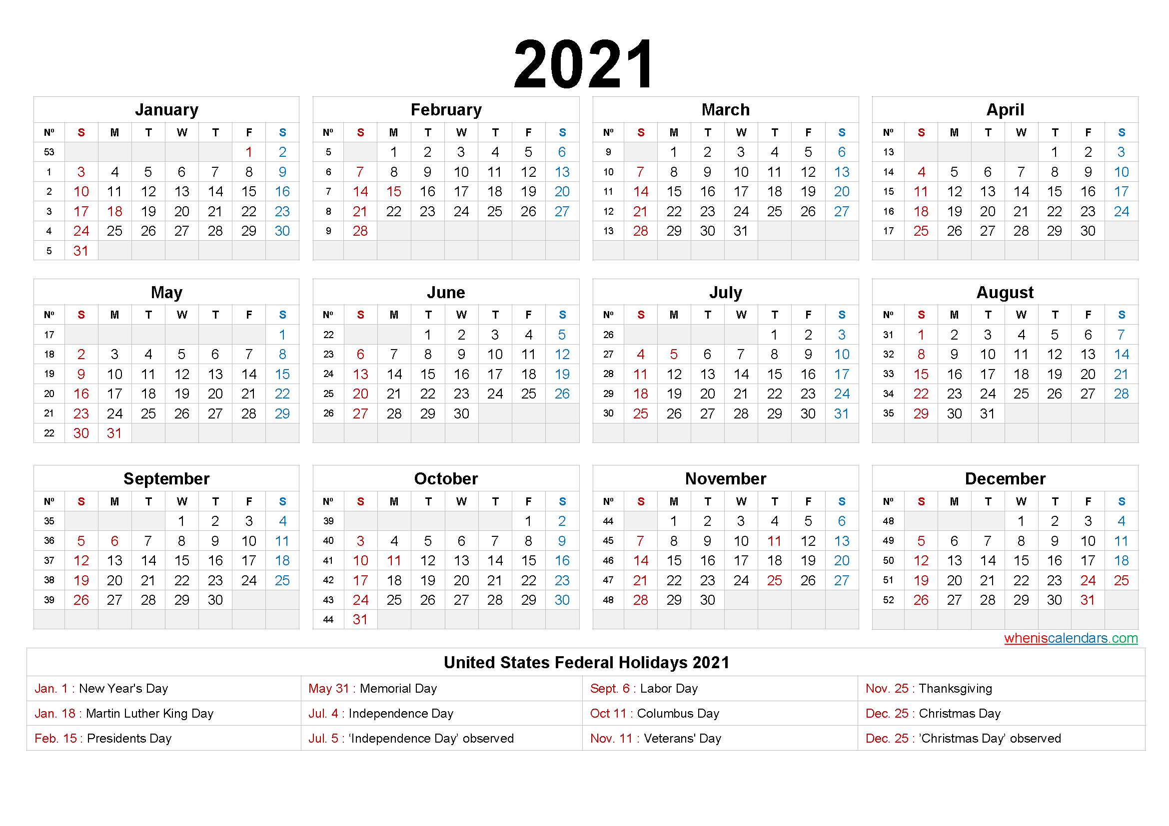Printable 2021 Calendar One Page - 6 Templates - Free-2 Page Printable Yearly Calendar Template 2021