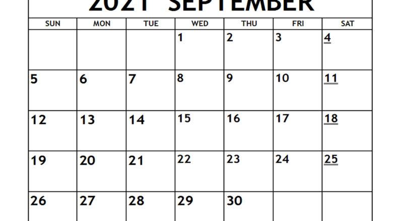 Printable 2021 September Calendar - Free-Printable-2021 Blank Vacation Calendar