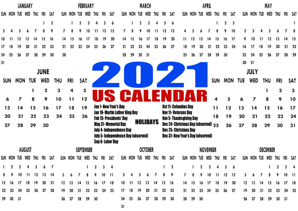Printable 2021 Us Calendar With Holidays, Federal, Bank-2021 Calendard For Vacation Schedule