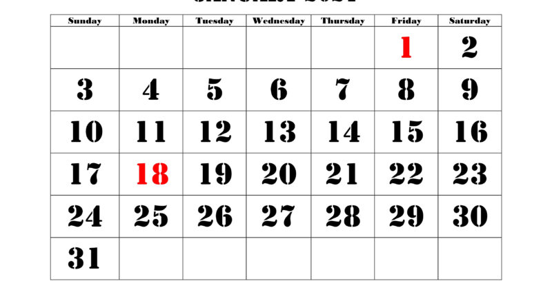 Printable Calendar 2021 | Free Download Yearly Calendar-Free Large Number Printable Calendars