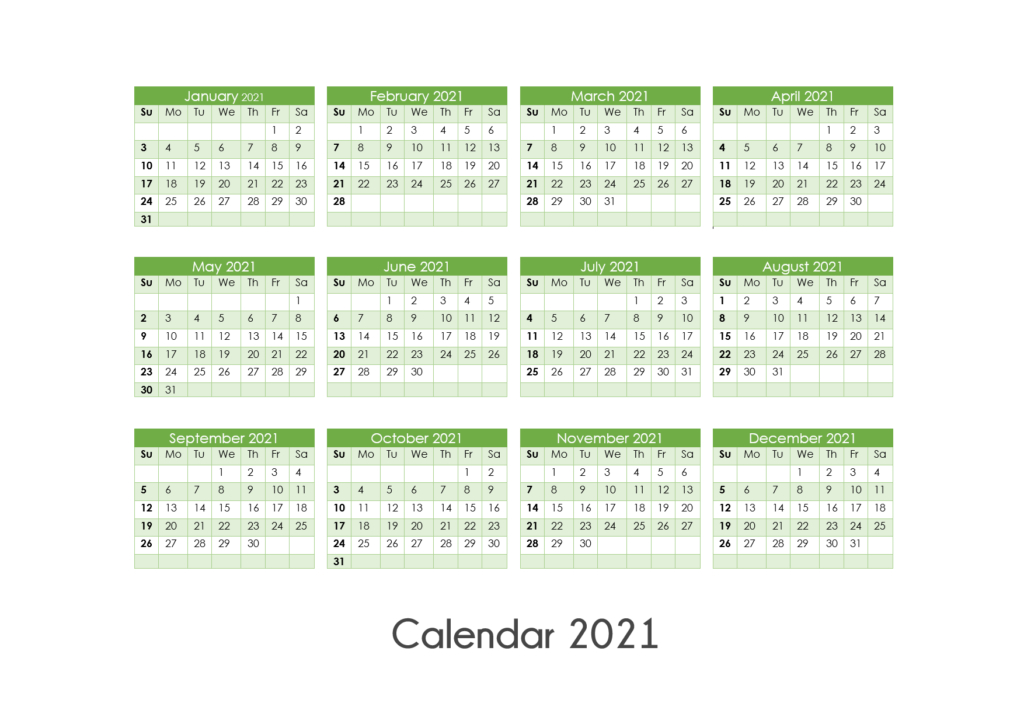 Printable Calendar 2021 One Page, Yearly Calendar, Blank-2021 Vacation Calendars