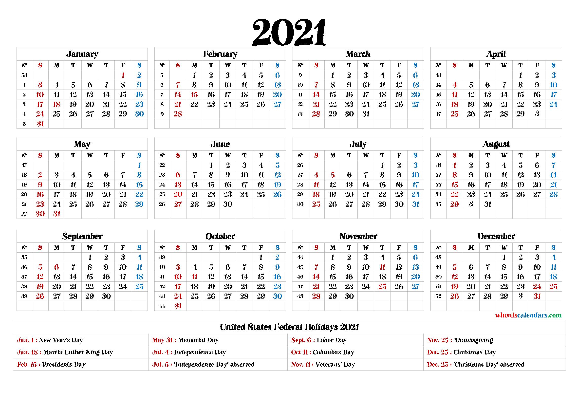 Printable Calendar 2021 Pdf - 9 Templates-2021 Monthly Calendar Printable Pdf