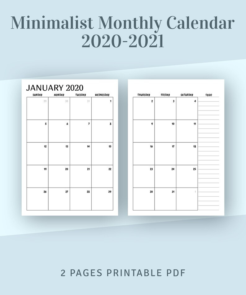 Printable Calendar Monthly 2020 2021 Month On Two Page | Etsy-2021 Monthly Calendar 2 Page Per Month Printable