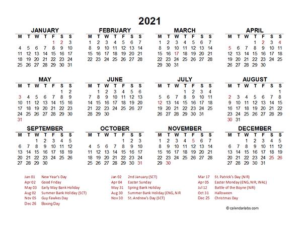 Printable Calendar Year At A Glance 2021 / 2021 Year At A-Large Print 2021 Calendar At A Glance Printable