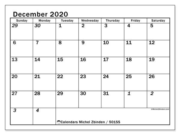 """Printable December 2020 """"501Ss"""" Calendar - Michel Zbinden En-Editable Calendar October 2021 Sunday Through Saturday"""