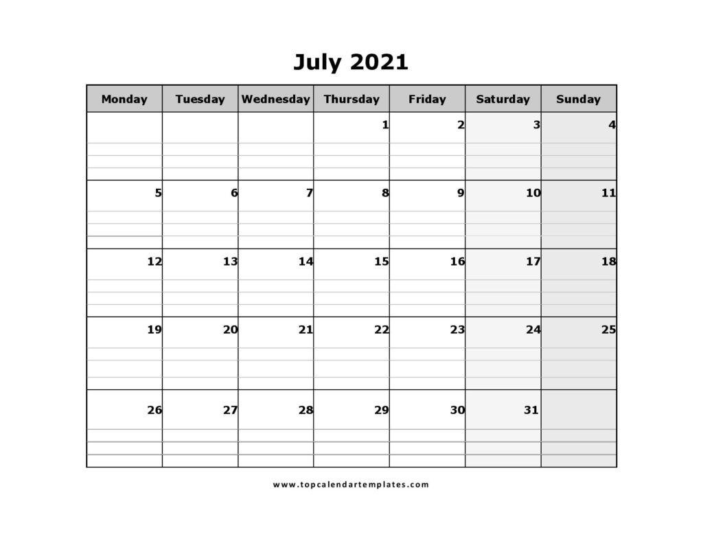 Printable July 2021 Calendar Template - Pdf, Word, Excel-Printable Monday - Friday July 2021